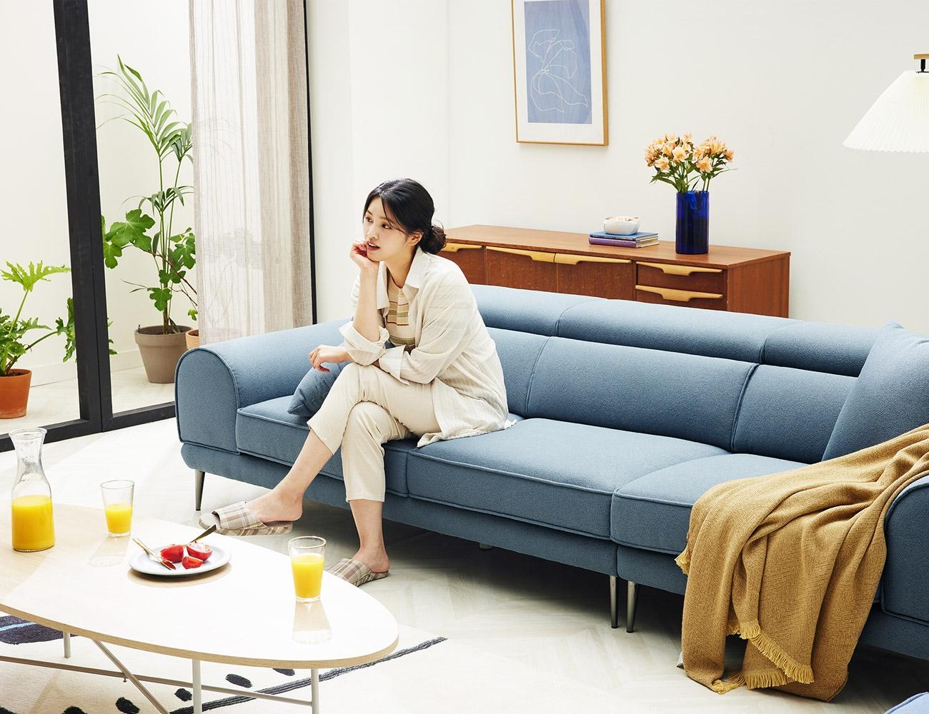 [신상품 세일] 몽슈 4인 기능성 데이위브 패브릭 소파+패브릭쿠션 2개